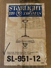 Vintage Light Fixture, Antique Brass, White Glass Flat Globe, HangIng Chain