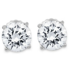 1ct Round Diamond Stud Earrings in 14K White Gold with Screw Backs