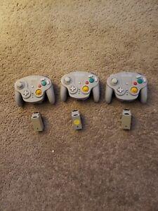 3 Nintendo GameCube Wavebird Controllers with adapters