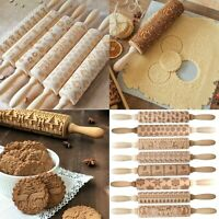 Christmas Embossing Wooden Rolling Pins Carved Wood Dough Engraved Roller Xmas