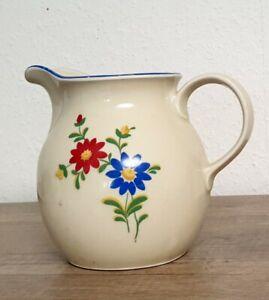 Alter Milchkrug - Tuppack Steinzeug feuerfest - Blumen Motiv