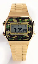 Casio Men's Digital Camouflage Gold Tone Stainless Steel Watch A168WEGC-3