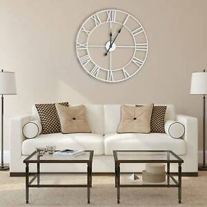 60CM WHITE EXTRA LARGE ROMAN NUMERALS SKELETON WALL CLOCK BIG GIANT OPEN FACE UK