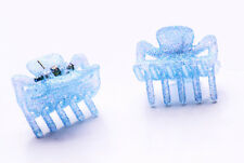 Sky Blue Set Of Two Glitter Mini Bulldog Clips For 90S Girl Glam Hair Care(Zx42)