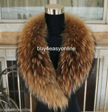 Brand Women&Men Real Raccoon Fur Collar Scarf Shawl Wrap Neck Warmer US stock
