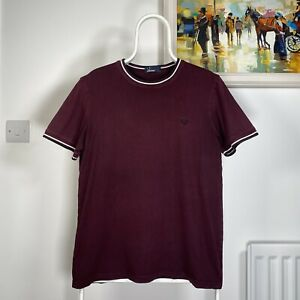 Mens FRED PERRY TWIN TIPPED Crew Neck Ringer SS Casual T-Shirt - Burgundy -Large