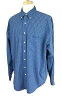 Eddie Bauer Men's Button Down Long Sleeve 100% Cotton Blue Check Shirt XLT