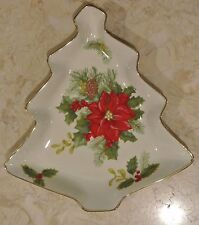 Poinsettia Decorated Open Candy Dish in Holiday Bloom by Mikasa