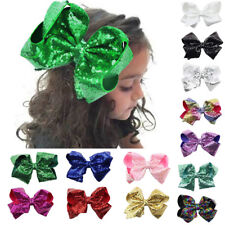 Cute 8 inch Large Hair Bows Sequin Alligator Clips Headwear For Kids Girls Gift