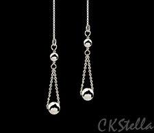 *CKstella*  .925 Sterling Silver Ball Dangle Ear Thread Threader Earrings
