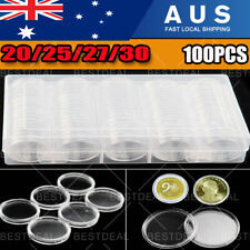 100pcs Coin Storage Box Case Capsules Holder Clear Plastic Round 20MM 25mm 30mm