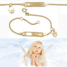 Baby Taufe Kreuz Schutzengel Herz Ident Armband mit Gravur Name Datum Gold 333