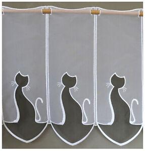 16cm breite Scheibengardine Katze auf Maß Gardine transparent weiß grau Typ668