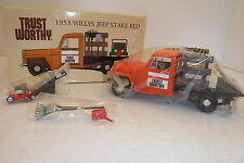 CROWN PREMIUMS TRUST WORTHY 1953 WILLYS JEEP STAKE BED COIN BANK 1:24 SCALE NIB