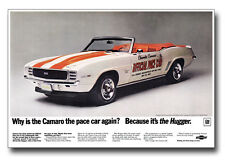 13x19 1969 Chevrolet Camaro SS 396 Indy 500 Pace Car Ad Poster Chevy 350 RS '69