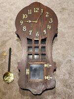 "Antique Working 1908 SESSIONS ""Ramona"" Mission Oak Art Deco Regulator Wall Clock"