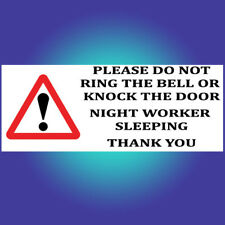 Night worker Sleeping Do Not Knock Ring shift Sign Sticker Vinyl Delivery C236