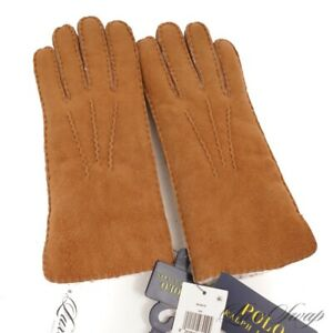 NWT $225 Polo Ralph Lauren Tan Sheepskin Shearling Fur Lined Ranch Gloves NR M