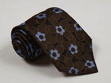 TED BAKER Brown & Blue Stylized Flowers Design Woven Silk Necktie Tie