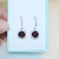 5 Carat Garnet Diamond Alternatives Dangle Earrings 14k White Gold over 925 SS