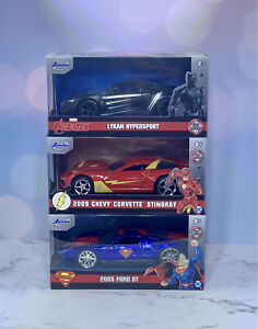 Jada Hollywood Rides Diecast Car Lot The Flash, Superman, Black Panther Marvel
