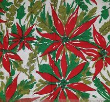 "New ListingVintage Linen Poinsettia Christmas Holiday Napkins (7) Fringe Euc 13.5""X 13.5"