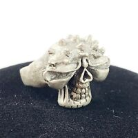 Silver Tone Hammered Worked Metal SKULL Chunky Ring Biker Punk Rocker Sz 8.5