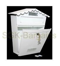 LARGE BIANCA Bloccabile CASSETTA POST Letter box acciaio rivestito Wall Mounted 2 CHIAVI