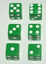 "6-Green-Dice~Great for All Kinds of Games~5/8"" (16mm)~Buy-2-Deals-Get-3rd-FREE"