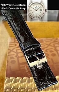 ROLEX 18k WHITE GOLD vintage buckle 20mm Black CRODOCILE Strap