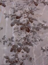 "Rose French Antique Handblocked Chintz Fabric Panel C1870~L53""X W-32"""