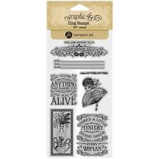 Midnight Masquerade #2 Unmounted Cling Rubber Stamp Set Graphic 45 IC0384 New