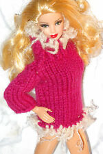 OOAK Barbie Pink Mauve and White Pullover Sweater Furry Trim Model Muse Pivotal