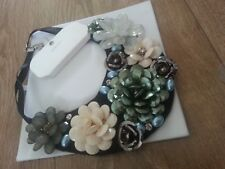 """""""Untold/House Of Fraser"""" Plastic Cluster Flowers/Diamante/Faux Pearl Bib N'lace"""