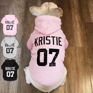 Personalised Dog Hoodies Custom Name Print Warm Winter Pet Clothes XS-5XL Pink