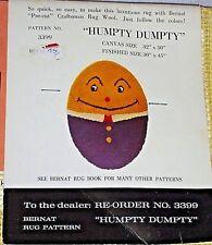 "Vintage Bernat Latch Hook Rug Pattern Canvas Humpty Dumpty Canvas size 32"" X 50"""