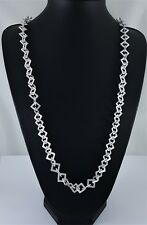 """Unusual Stunning Matt Silver Textured Squares Link Long Necklace 40"""""""