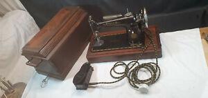 Vintage Cased Electric Singer Sewing Machine Mod 201K No EC224347 Date 7/6/1939