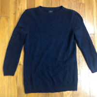 Talbots Womens 100% Cashmere Sweater 3/4 Sleeves Navy Blue Size P Petite