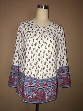 Luisa Ivory Multi Color Polyester Blouse Sz. S NWT Italy