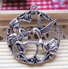 5pcs Antique Silver Hummingbird in Garden Flower Charm Pendants 30mm A205-1