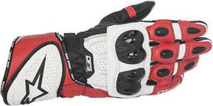ALPINESTARS GP PLUS R Leather Racing Gloves (Black/White/Red) Choose Size