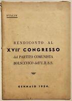 Libro Stalin Rendiconto del XVII° Congresso Partito Comunista Bolscevico 1934