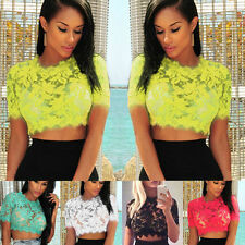 Women's Cotton Blend Crew Neck Casual Cropped Tops & Shirts