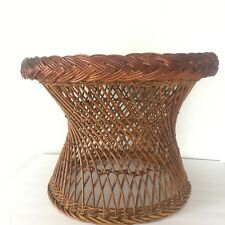 VTG Rattan Bielecky Brothers? Round Brown Coffee Side Table Bohemiam Beach House