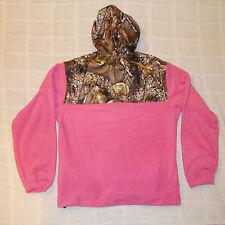 HOT Pink Camo Fleece Zippered Hoodie Camoflauge Hooded Sweatshirt Women's 2XL