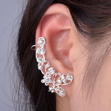 Ear Cuff Silver Butterfly Earring Crystal Crawler Flower Wrap Clipon Stud helix