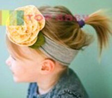 Baby kids Girls Toddlers Yellow flower cotton Stretch headband hair head band