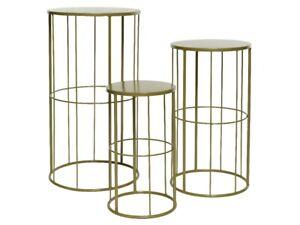 Gold Set of Three Planter Tables