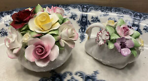 Royal Doulton-Bone China Swan And Flower Posy Pots -Beautiful Detailed Flowers